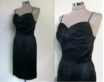 "Knockout 1950s ink black satin pinup wiggle dress w/pleated cups bust 33""-34"""