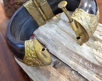 Vintage Ebony Wood and Brass Cuff Bracelet
