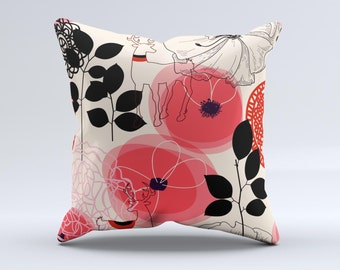 The Pink Nature Layered Pattern V1 ink-Fuzed Decorative Throw Pillow