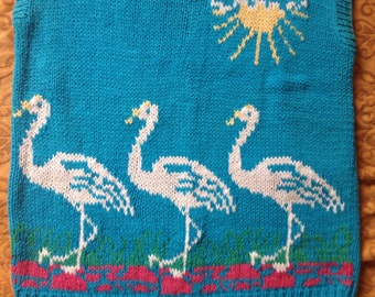 Vintage 1980s Flamingo Sweater vest