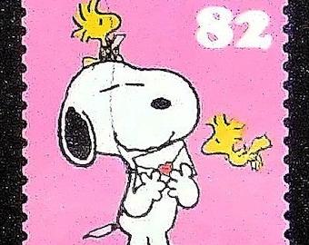 Snoopy Charlie Brown Peanuts Cartoons -Handmade Postage Stamp Art 0239