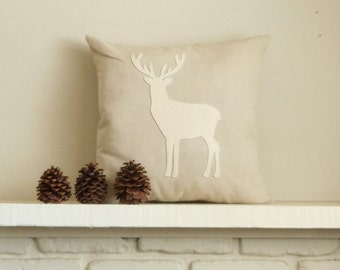 Deer Pillow /  Stag / 30 Silhouette colors / Woodland Decor / Decorative Pillow / Woodland Animals / Cabin Decor / Rustic / Lodge Pillow