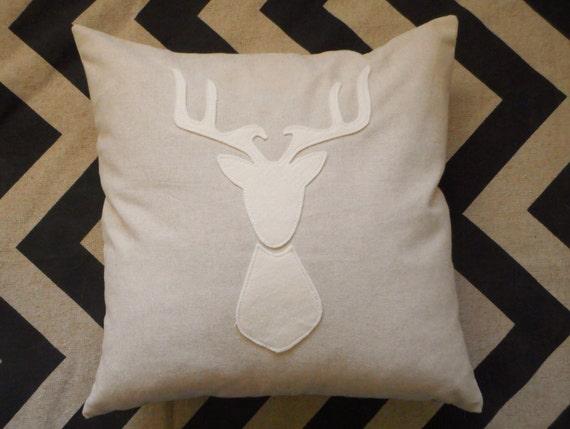 Deer Pillow / cover / deer head silhouette / antler pillow / stag silhouette / deer pillow case / woodland decor / woodland animals / custom
