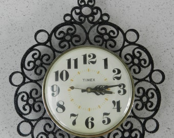 Vintage Timex Kitchen Wall Clock, Black Scroll, Wrough Iron Look, Electric Kitchen  Clock