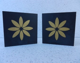 Vintage Metal Flower Bookends, Black and Gold, Daisy