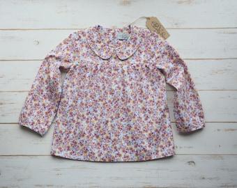 Girls Flower Blouse Long Sleeve Peter Pan Collar Pink