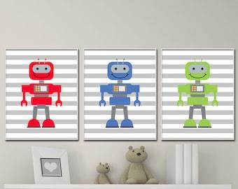 Robot Nursery Art Prints, Baby Boy Space Nursery Wall Art Print, Boys Bedroom Decor - Custom Color- H1018- Unframed
