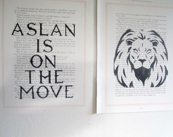 Aslan Is on The Move, Narnia Font, Narnia Print, Print Set, Child's Bedroom Decor, Narnia Theme, Aslan, Lion, Narnia Quote, Aslan Quote