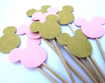 24 Minnie Mouse Cupcake Toppers, Pink & Gold Glitter, Girl Birthday, Baby Shower, Food Picks, Theme Party Picks, Ships in 3-5 Business Days