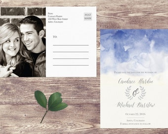 Save The Date Postcard, Postcard Save the Date, Photograph Save the Date, Custom Personalized, Engagement Announcement Card - Aspen