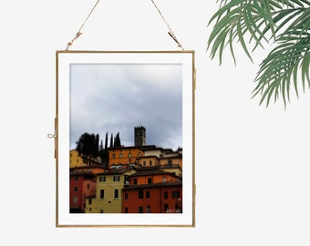 Travel photography Italy art colored houses photo architecture yellow wall art modern loft decor urban wall art orange grey decor 12x18 art