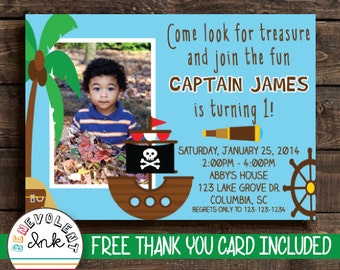 Pirate Birthday Invitation - Printable Pirate Birthday Party Invite - First Birthday Boy - 1st Birthday Boy - Pirate Theme Birthday