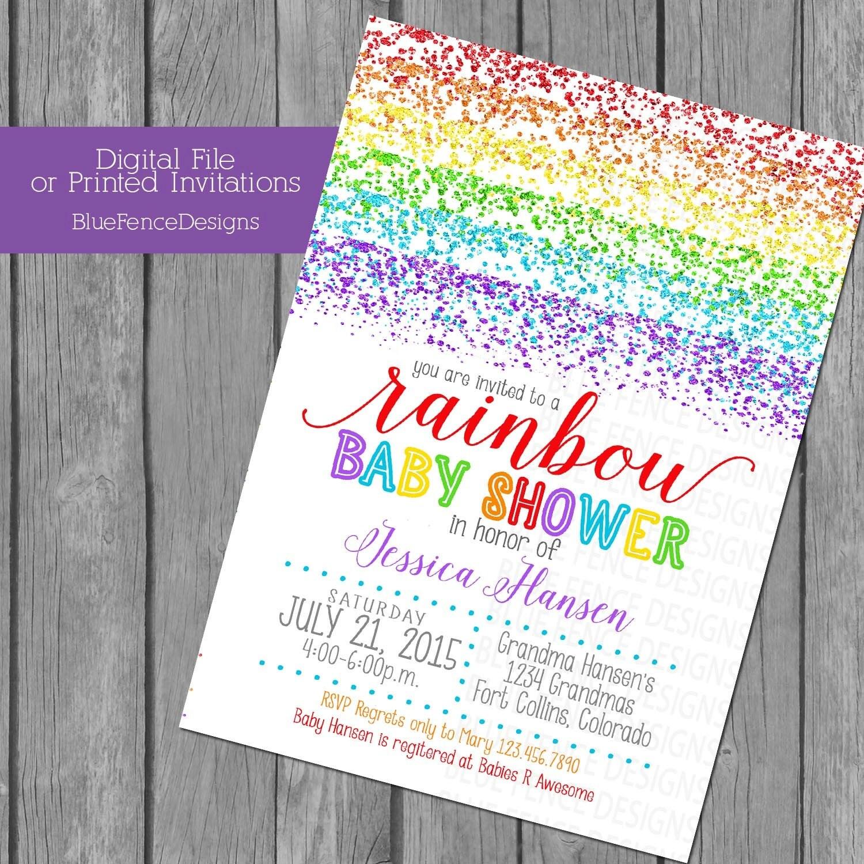 RAINBOW glitter invite Rainbow baby shower invitations