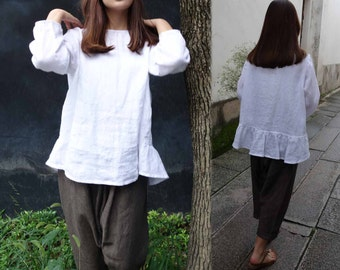 701---White Linen Top / Tee, with Back Ruffled Hem, Pre-Washed Linen Blouse.