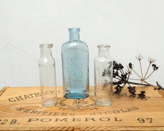 Antique Medicine Tonic Bottles Apothecary Old English Blue and Clear Glass