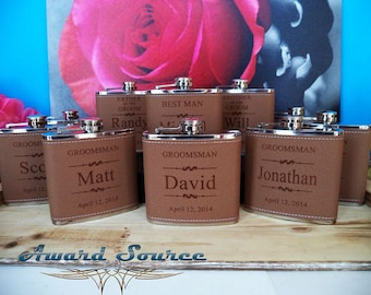 Groomsmen Flask Gifts, Personalized Leather Flasks, Personalized Groomsmen Gift, 1 Leather Engraved Flask, Groomsmen Flasks