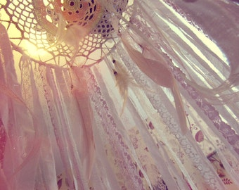 Boho Nursery Canopy - Hanging Bed Crown - Bohemian Bedroom Decor - Gypsy Bedding - Dreamcatcher Mobile - Bed Tent - Boho Baby Gift