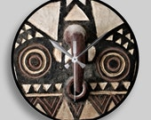 African Art — Round Wall Clock Featuring Portrait of Bobo Bwa Hawk Mask