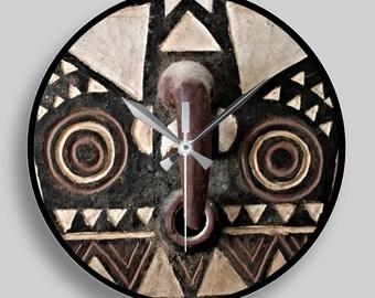 African Art — Round Wall Clock Featuring Portrait of Bobo Bwa Hawk Mask
