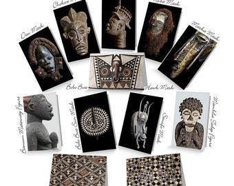 African Art Greeting Cards ~ Masks, Sculptures, Textiles / Mix & Match! ~ Sets of 4, 8, 12, or 16 / 4x6 or 5x7.5 / Orig Fine Art Photography