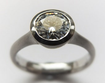 Moissanite Palladium engagement ring , hand carved eco equivalent to a one carat diamond ring.