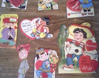 Vintage Valentines - Cultural Emphasis and some Politically Incorrect! Lot of 9
