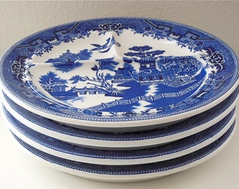"4 Blue Willow Divided Plate by Shenango China Made in USA Grille Plate Grill Plate 10 1/4"" Plates Restaurantware"