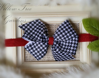 Houndstooth Boutique Bow Headband, Alabama Crimson Tide Inspired Headband, Baby - Toddler - Girl - Adult Headband or Barrett. Photo Prop