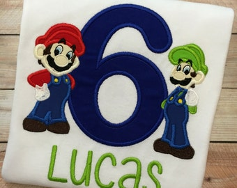 Embroidered Mario Brother and Luigi Birthday Shirt. FREE PERSONALIZATION. Browser can be added in place of Mario or Luigi.