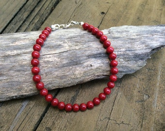 Red Coral Bracelet, Red Christmas Bracelet, Bright Red Bracelet, Christmas Red Jewelry, Red Bamboo Coral Bracelet, Vibrant Red Jewelry