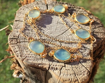 Light Blue Chalcedony Gold Chain Necklace
