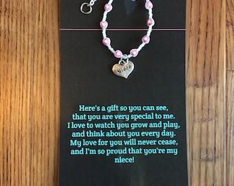 Niece bracelet, niece birthday gift, niece present, niece card
