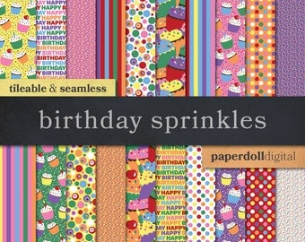 Birthday Digital Paper - Seamless Cupcake Digital Paper - Cupcake Sprinkles Bright Digital Paper - Red Blue Pink Blue Purple Green - 20 Shee