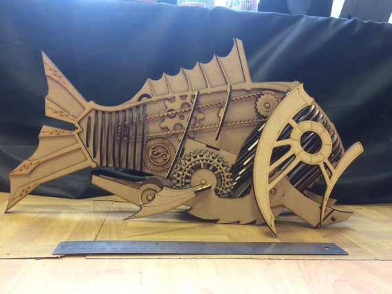 MDF Steampunk Style Fish Build It Yourself Kit