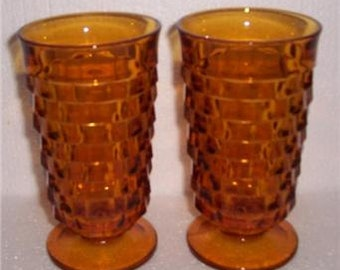 Vintage (2) Indiana American Whitehall Amber Color Large Water Glasses