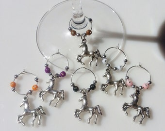 Set of Six - Horse Wine Charms