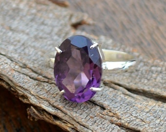 Purple Amethyst Gemstone Ring - 925 Sterling Silver Ring - Gift Ring - February Birthstone Ring - Prong Set Gift Ring- Purple Ring Jewelry