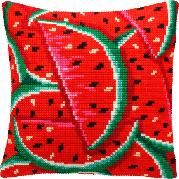 Watermelon or Parrot, or Flowers pillowcase cross-stitch DIY embroidery kit craft set, houswarming gift