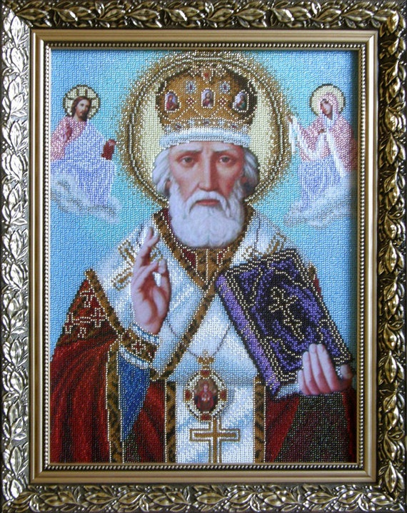 Saint Nicholas icon, beaded picture, bead embroidery needlework kit, orthodox religion, craft set