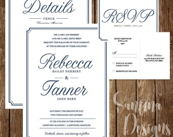 Print-at-home Elegant Wedding Invitation