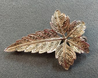 Vintage Pot Metal Leaf Brooch with Marcasites.  Free shipping