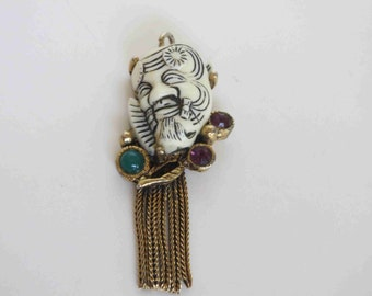 SELRO Signed White Noh Mask Pendant with Dangling Chains