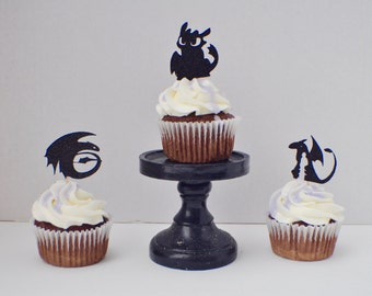 Toothless the Dragon Inspired Cupcake Toppers