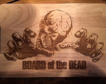 Zombie Inspired Board Of The Dead Wooden Etched Chopping Cutting Board