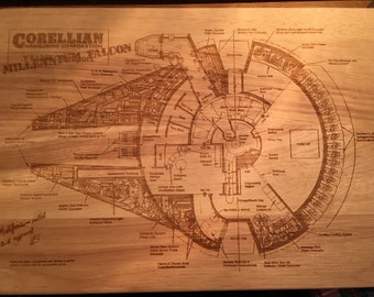 Star Wars Inspired Millenium Falcon Schematic Blueprint Chopping Board
