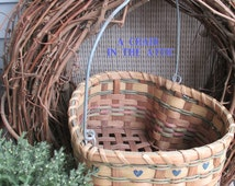 Vintage Heart Shaped Hand Woven Basket with Metal Swivel Handle