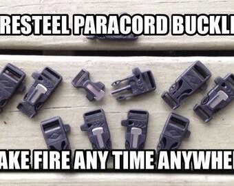 "3/4"" Flint Firesteel Whistle Paracord Buckles for Paracord Bracelets"