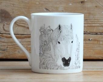 Through the hedge 'Horse' china mug