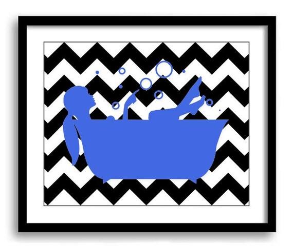 Bathroom decor bathroom print royal blue and black girl with for Bathroom decor royal blue
