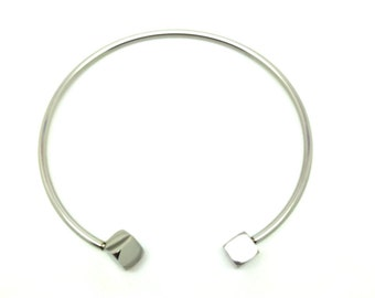 "Bangle bracelet ""square"" silver plated"